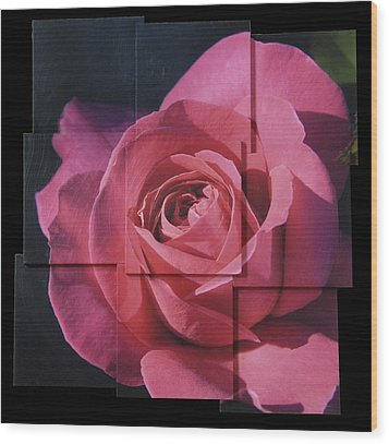 Pink Rose Photo Sculpture Wood Print by Michael Bessler