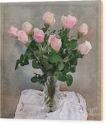 Wood Print featuring the digital art Pink Roses by Alexis Rotella