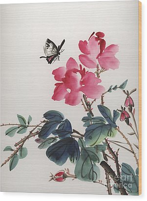 Wood Print featuring the painting Pink Roses And Butterfly by Yolanda Koh
