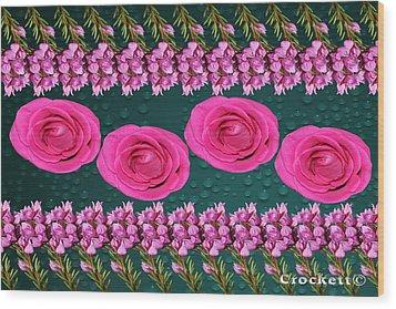 Pink Roses Floral Display Wood Print