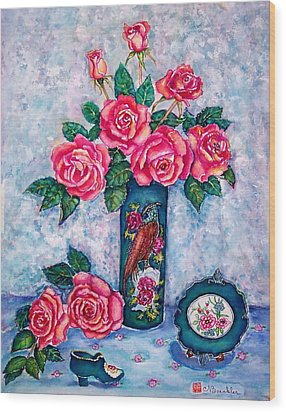 Pink Roses Wood Print by Norma Boeckler