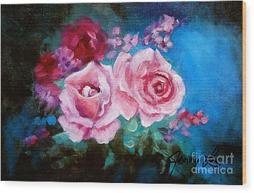 Pink Roses On Blue Wood Print by Jenny Lee