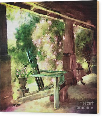 Wood Print featuring the digital art Pink Roses On The Porch by Lois Bryan