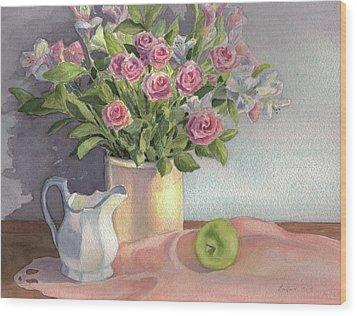 Pink Roses Wood Print by Vikki Bouffard