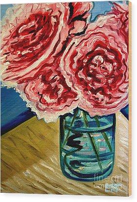 Pink Ruffled Peonies Wood Print by Elizabeth Robinette Tyndall