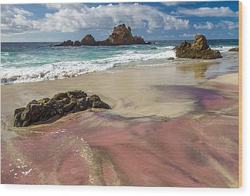 Pink Sand Beach In Big Sur Wood Print by Pierre Leclerc Photography
