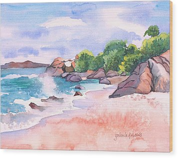 Wood Print featuring the painting Pink Sands by Yolanda Koh