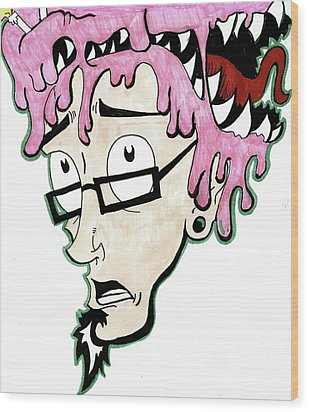 Wood Print featuring the drawing Pink Savage  by Iconic Images Art Gallery David Pucciarelli