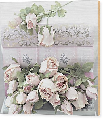 Wood Print featuring the photograph Pink Shabby Chic Roses On Pink Cottage Books - Shabby Cottage Pink Roses Home Decor by Kathy Fornal