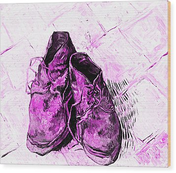 Pink Shoes Wood Print by John Stephens