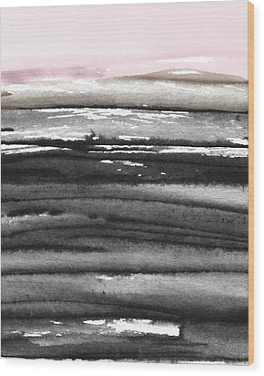 Wood Print featuring the mixed media Pink Sky Horizon- Art By Linda Woods by Linda Woods
