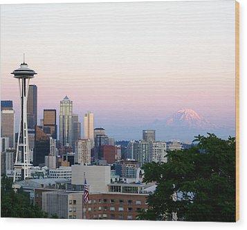 Pink Sky Over Mount Rainier Wood Print by Sonja Anderson