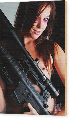 Pink Sniper Wood Print