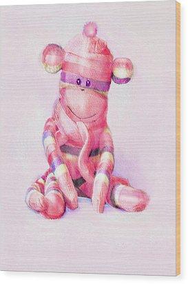 Pink Sock Monkey Wood Print by Jane Schnetlage