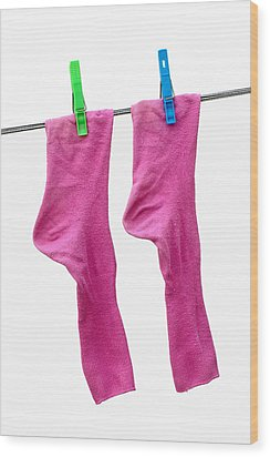 Pink Socks Wood Print by Frank Tschakert