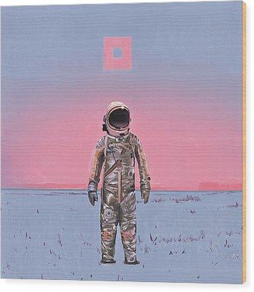 Pink Square Wood Print