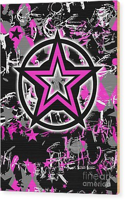 Pink Star Graphic Wood Print by Roseanne Jones
