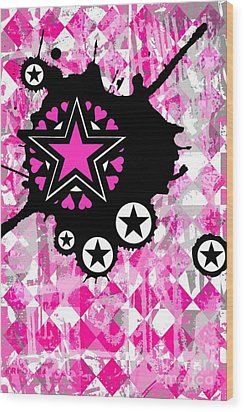 Pink Star Splatter Wood Print by Roseanne Jones