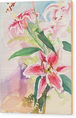 Pink Stargazer Lilies Wood Print