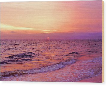 Pink Sunrise Wood Print by Kristin Elmquist