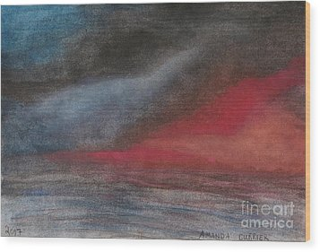 Pink Sunset Over Ocean Wood Print by Amanda Currier