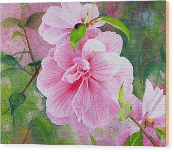 Pink Swirl Garden Wood Print by Shelley Irish