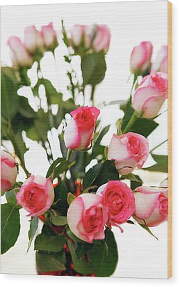 Pink Trimmed Roses Wood Print by Marilyn Hunt
