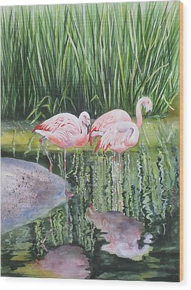 Pink Trio Wood Print by Mary McCullah