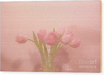 Pink Tulips On Pink Wood Print by Marsha Heiken