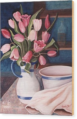 Wood Print featuring the painting Pink Tulips by Renate Nadi Wesley