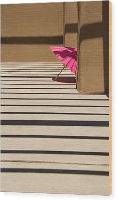 Pink Umbrella Wood Print by Carolyn Dalessandro