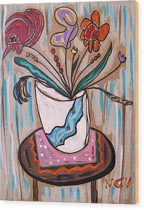 Pink Underneath Wood Print by Mary Carol Williams