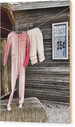 Pink Undies Wood Print by Wendy White
