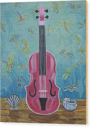 Pink Violin With Fireflies And Shells Still Life Wood Print by John Keaton