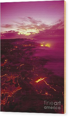 Pink Volcano Sunrise Wood Print by Ron Dahlquist - Printscapes