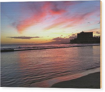 Pink Waikiki Sunset Wood Print by Erika Swartzkopf
