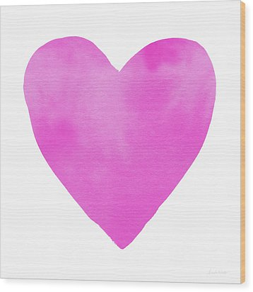 Wood Print featuring the mixed media Pink Watercolor Heart- Art By Linda Woods by Linda Woods
