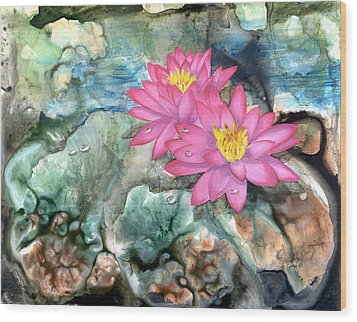 Wood Print featuring the painting Pink Waterlily by Sherry Shipley