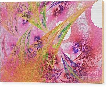 Wood Print featuring the digital art Pink Web by Deborah Benoit
