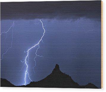 Pinnacle Peak Lightning  Wood Print by James BO  Insogna