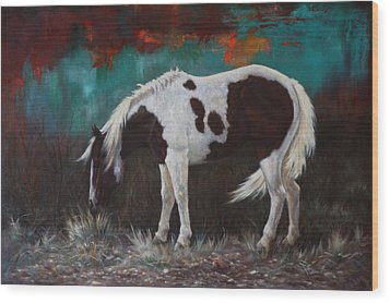 Wood Print featuring the painting Pinto by Harvie Brown