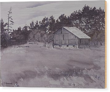 Pioneer Barn Wood Print by Debbie Homewood