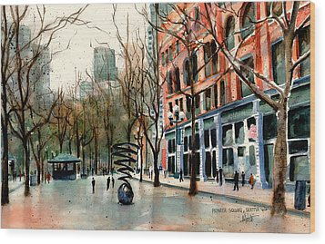 Wood Print featuring the painting Pioneer Square by Marti Green