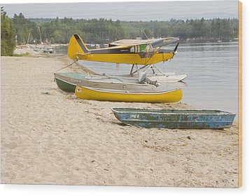 Piper Super Cub Floatplane Near Pond In Maine Canvas Poster Print Wood Print