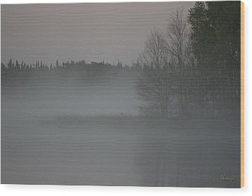Piprell Lake 4 Am Mist Wood Print by Andrea Lawrence