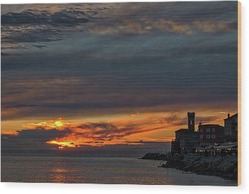 Wood Print featuring the photograph Piran Slovenia Sunset #2 by Stuart Litoff