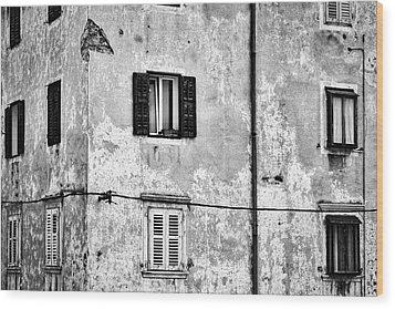 Wood Print featuring the photograph Piran Windows - Slovenia by Stuart Litoff