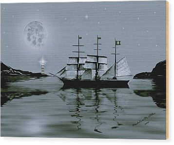Pirate Cove By Night Wood Print by Madeline  Allen - SmudgeArt