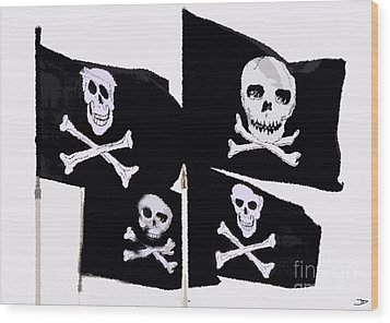 Pirate Flags Wood Print by David Lee Thompson