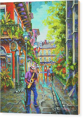 Pirate Sax  Wood Print by Dianne Parks